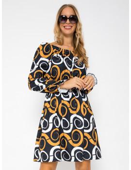Off Shoulder Dress - Black Spiral