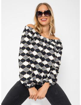 Off Shoulder Blouse - Black and White