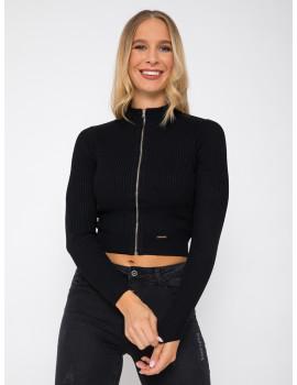 Zippd Knit Top - Black