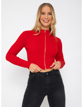 Zippd Knit Top - Red