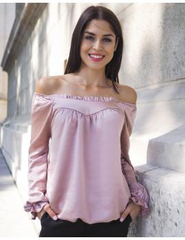 Lora Satin Blouse - Baby Pink