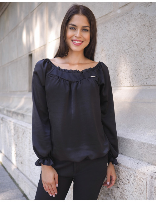 Lora Satin Blouse - Black