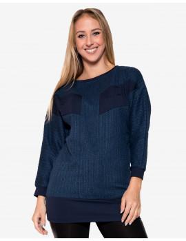 Amira Knit Top - Dark Blue & Dark Blue