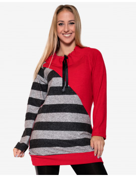 Elanor Tunic - Red & Grey