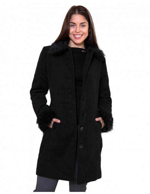 Padded Coat with Faux Fur Detail