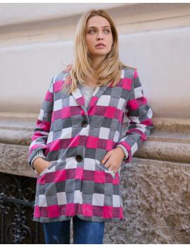 Check Print Coat - Pink
