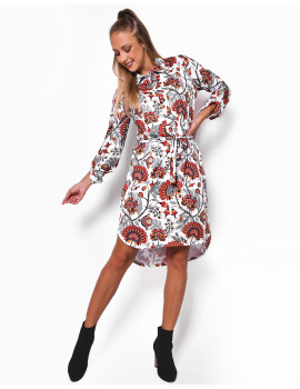 Patterned Dress - Coral