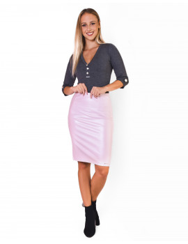 Leather Skirt - Baby Pink